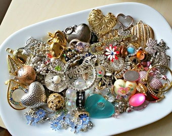 destash junk jewelry lot repurposing, mega mix, junk drawer, pendants, rhinestones, charms, brooches, hearts, hobby craft supplies, diy