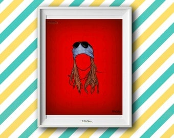 Axl Rose Silhouette Digital Instant Download/Photo or Canvas Printable/Digital Art Drawing/Wall Decor Art