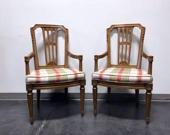 HENREDON Capri Mid Century Italian Provincial Neoclassical Dining Captain's Arm Chairs - Pair