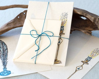 letters by candlelight penpal stationery - letter writing set with quill pen & ink - handmade paper - original artwork - fantasy art