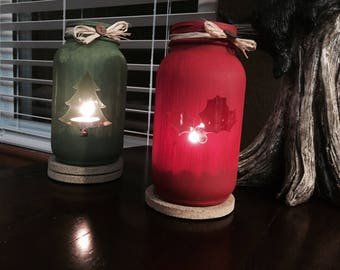Rustic Christmas Tealight Mason Jars