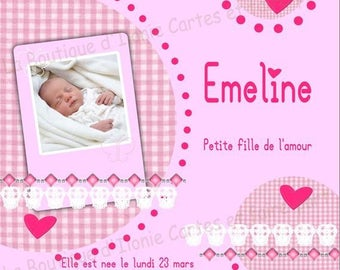 Birth announcement pink with 1 photo on the front - editable