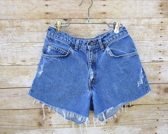 Trashed Size 28  Denim Shorts Levi's Distressed Levi's 572 Cuffed Denim Shorts- USA Levi's HIGH WAIST  Cut Offs