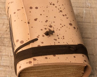 Brown Spotted Leather Journal, Handbound Journal, Leather Diary, Notebook