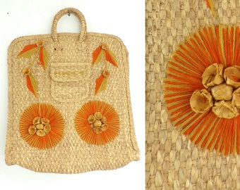 Vintage 80s Orange & Tan Woven Purse, Large Tote, Woven Bag, Straw Purse, Top Handle Tote, Orange Flowers Purse, Summer Bag, Mexico Purse