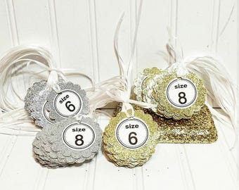 Glitter Flip Flop Size Tags - Available in a Variety of Colors