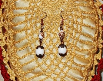 Sale Hippie Chic Handmade Old Venetian Glass White Copper Bead Chandlelier Drop Dangle Stainless Steel Earrings