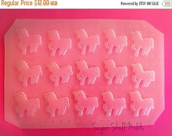 SUMMER SALE 15pc Unicorn Fantasy Silhouette Flexible Plastic Mold For Resin Crafts Jewelry