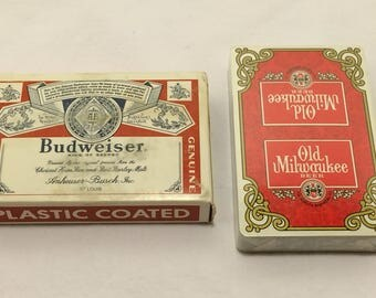 Budweiser Beer/Old Milwaukee Beer Playing Cards Budweiser Playing Cards Milwaukee Brewery Deck Of Cards Poker 2 Sets Card Games T50 JL7026