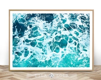 Ocean Art Print, Waves, Beach Coastal Wall Decor, Digital Download, Large Printable Poster, Modern Minimalist, Turquoise Blue Ocean Water