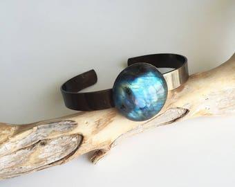 polished brass and labradorite bracelet