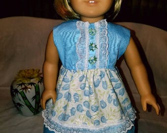 """Dixie-crafted Spring Blue Tulips Dress to fit 18"""" Dolls including those from the American Girl Doll Clothes Company"""