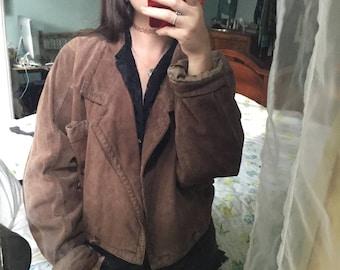 Vintage 1980s brown suede cropped bomber jacket retro 80s badass biker jacket medium