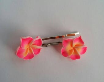 Pink Tropical Flower Hair Grips/Pins