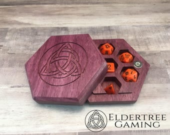 Premium Dice Vault - Hexagon Shape - Purpleheart - Eldertree Gaming