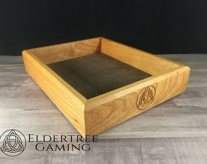 Premium Dice Tray - Table Top Sized - Cherry with Felt or Leather Rolling Surface - Eldertree Gaming