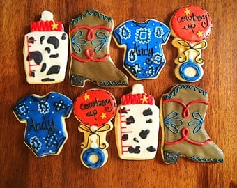 One Dozen Cowboy Baby Shower Cookies - Western Birthday Themed Party Favor - Cowboy Boot, Onesies, Rattles and Bottles