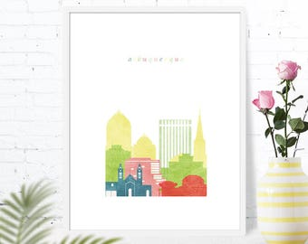 Albuquerque poster print Map of Albuquerque art Albuquerque NM Skyline city travel New Mexico wall art printable download gift nursery