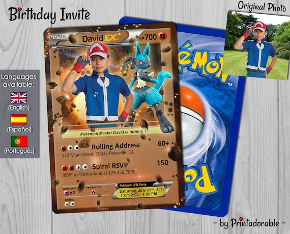 Pokémon Fight Invitation - Fighting Pokemon Card - Lucario Pokémon GO Invite -  Birthday Invitation and Poké Card - Digital or Printed File