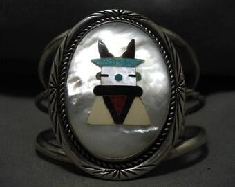 Huge Vintage Zuni/ Navajo Turquoise Kachina Coral Silver Bracelet Old