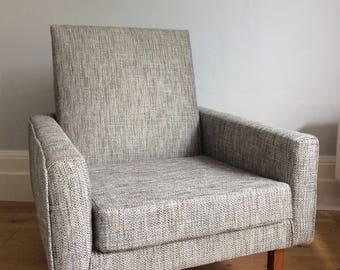 Vintage retro 1970's newly upholstered grey armchair