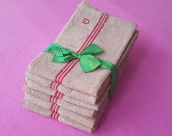 Towels size XL old hemp red slat - set of 6 - 13067