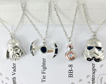 Inspired by Star Wars Necklace - BB-8 Necklace - Spaceship - Stormtrooper - Tie Fighter - Inspired by Star Wars Jewelry - Star Wars Gift