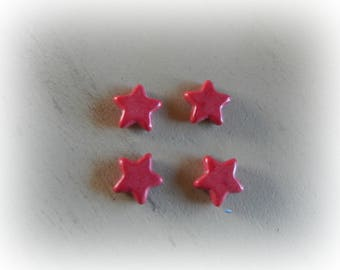 4 beads 14 mm red howlite star