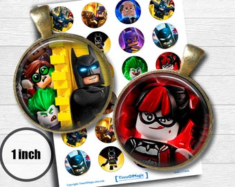 "Lego Batman - Digital Collage Sheet 1"" inch 25mm Bottlecap Printable Download for pendants magnets cupcake toppers birthday"