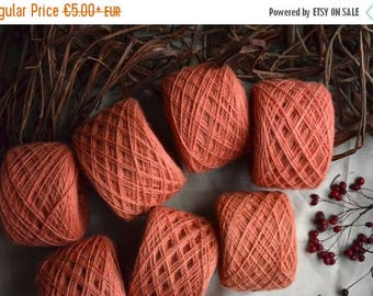 Christmas In July Sale Hand dyed yarn/ plant dyed wool/ peach - coral - pink /weaving, knitting yarn/ natural organic wool / 2 ply wool yarn