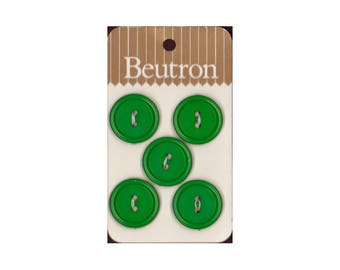 "Vintage Beutron approx. 0.7"" (1.8 cm) Carded Green Raised Edge 2-Hole Buttons Five Pieces (B33, B34)"