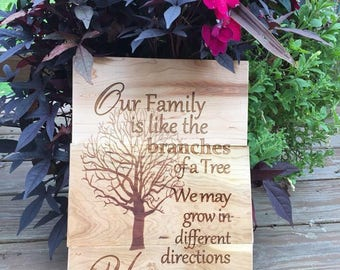 Family Tree Wall Decor- Our Family is like the branches of a tree. We may grow in different directions Yet our roots remain the same