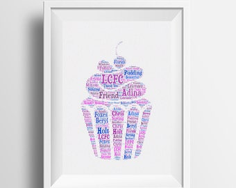 Framed word art, Cupcake design, personalised framed A4 print. Beautiful gift idea for all occassions