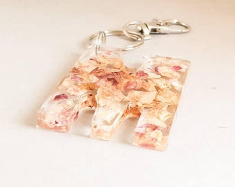 Initial keyrings, Rose petal keyring, initial keychains, large letter keyring, Rose initial keyring, flower bag charm, monogram gift