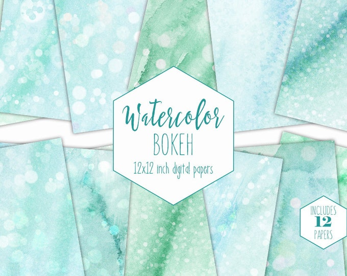 MINT WATERCOLOR Digital Paper Pack Commercial Use Backgrounds Scrapbook Papers Aqua & Teal Blue Bokeh Dots Real Watercolor Texture Papers