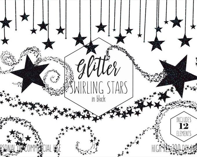 BLACK GLITTER STARS Clipart Commercial Use Clip Art Celestial Night Sky Black Star Images Metallic Star Birthday Party Kids Digital Graphics