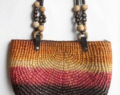 Vintage Large Bohemian Rainbow Straw and Wood Market Bag 70s Style Purse with Wooden Beaded Handle