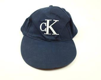 Vintage 90s CK JEANS Hat - Curved Brim Six Panel Dad Hat - Calvin Klein Navy Polo Hat - Long Brim