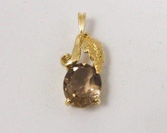 Solid 14K Yellow Gold Smoky Quartz Leaf Pendant Charm, 1.5 grams