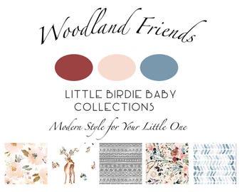 Woodland Friends Bedding. Baby Bedding. Nursery Decor. Floral Nursery. Woodland Baby Nursery. Baby Girl Nursery. Deer Crib Sheet.