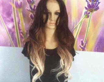 Ombre Mixed Dark Roots Brown Blonde Lace Front heat resistant Synthetic wig 23''