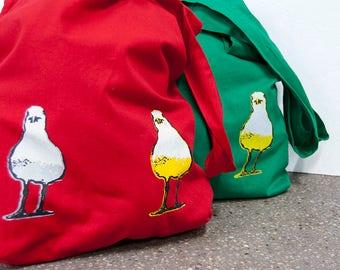 bio cotton tote bag with screen print of 2 sea gulls, green or red shopper with screen printed birds, eco market bag, bird design