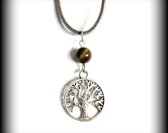 Grounding and Spiritual Growth Tree of Life Tigers Eye Inspirational Necklace  20""