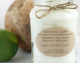 Coconut Lime Soy Candle, Soy Wax Candle, Coconut Candle, Lime Candle, Soy Candle, Coconut Lover Gift, Unique Gift, Unique Candle