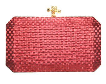 Stunning Red Woven Knot Clasp Evening Case Bag