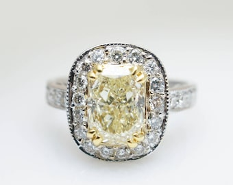 Fancy Yellow Diamond Halo Engagement Ring 2.24CTW Cushion Cut 2ct ring