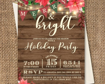 Merry and Bright invitation, Holiday Party Invitation, Christmas Party Invitation, Winter Party Invitation, Rustic Holiday Party Invitation