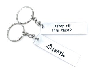 Best Friends or Couple set of Always Severus Snape Hand Stamped 16g aluminum keychains | set of two | wizard | muggle | elder wand