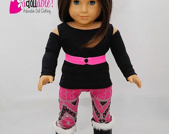 American made Girl Doll Clothes, 18 inch Doll Clothing, Open Shoulder Top with Leggings made to fit like American girl doll clothes