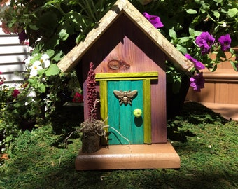 Turquoise Fairy Door with Bee and Fairy Planter